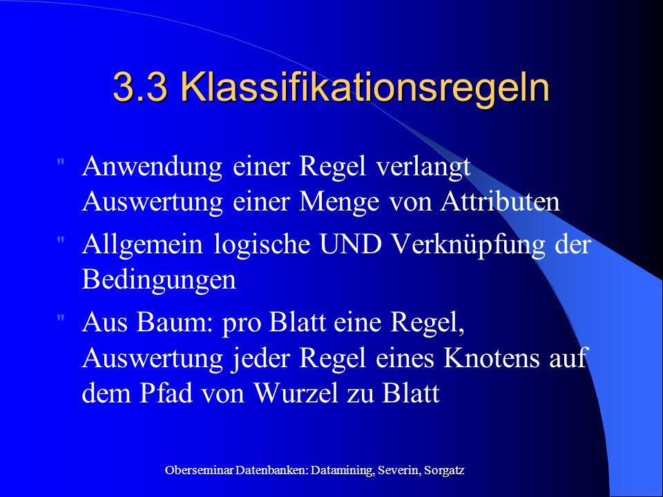Oberseminar Datenbanken: Datamining, Severin, Sorgatz 3.3 Klassifikationsregeln
