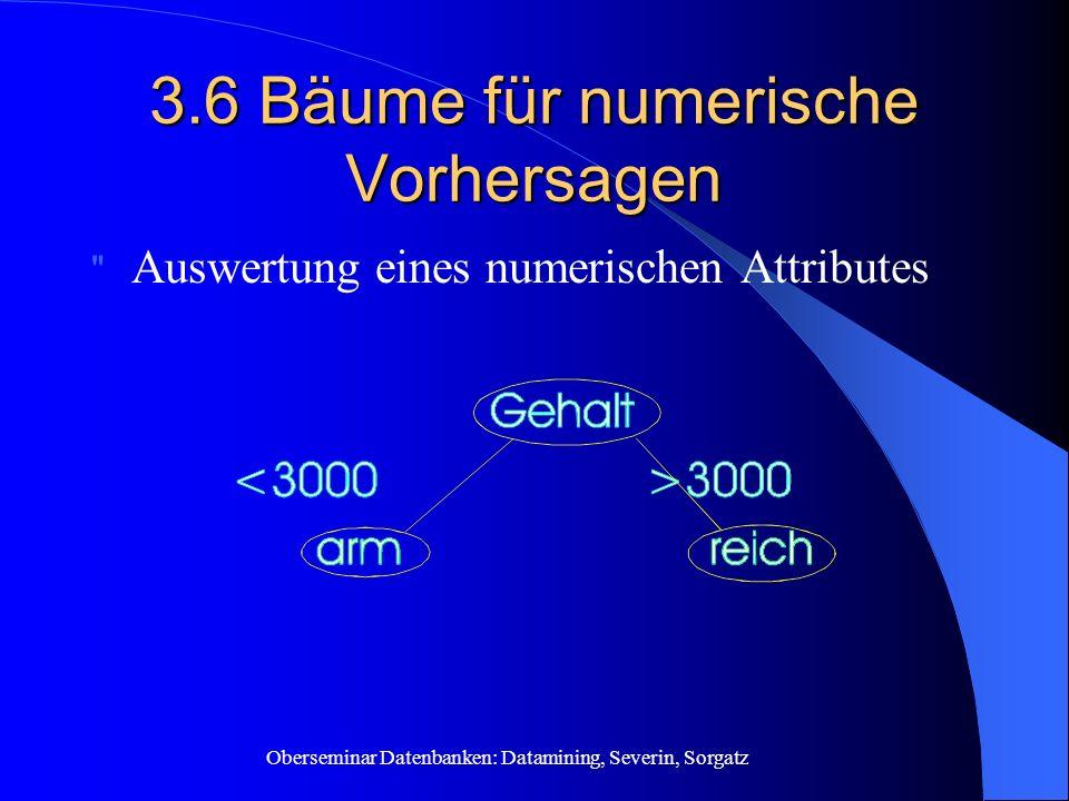 Oberseminar Datenbanken: Datamining, Severin, Sorgatz 3.6 Bäume für numerische Vorhersagen Auswertung eines numerischen Attributes
