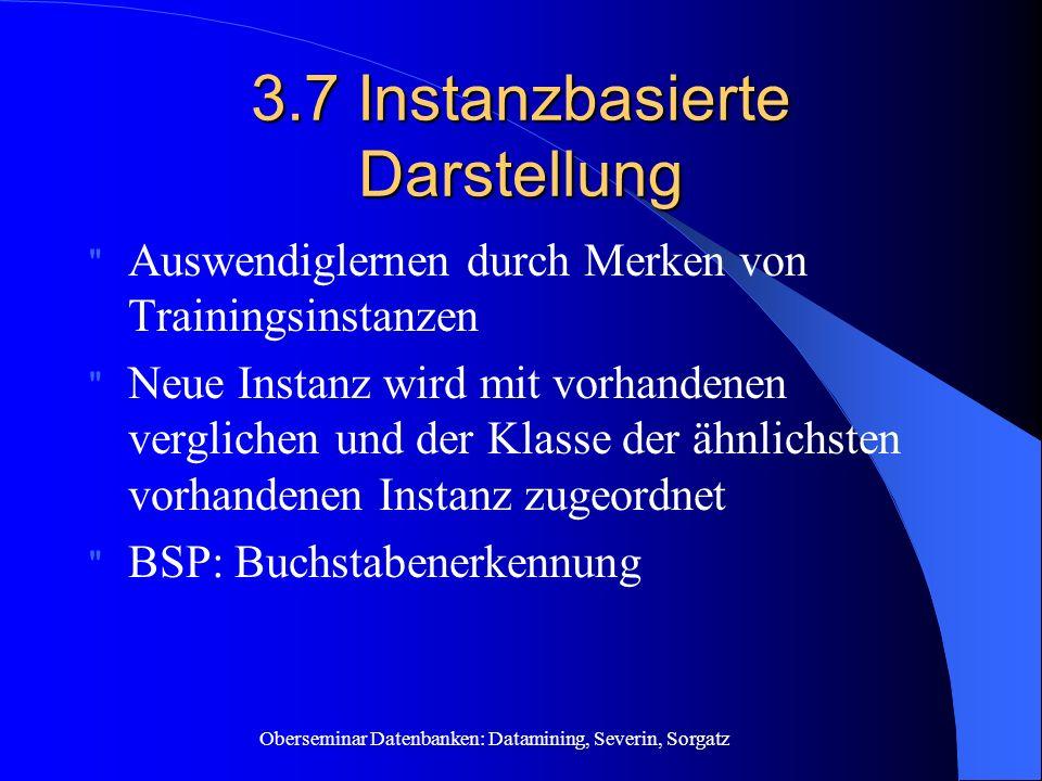 Oberseminar Datenbanken: Datamining, Severin, Sorgatz 3.7 Instanzbasierte Darstellung