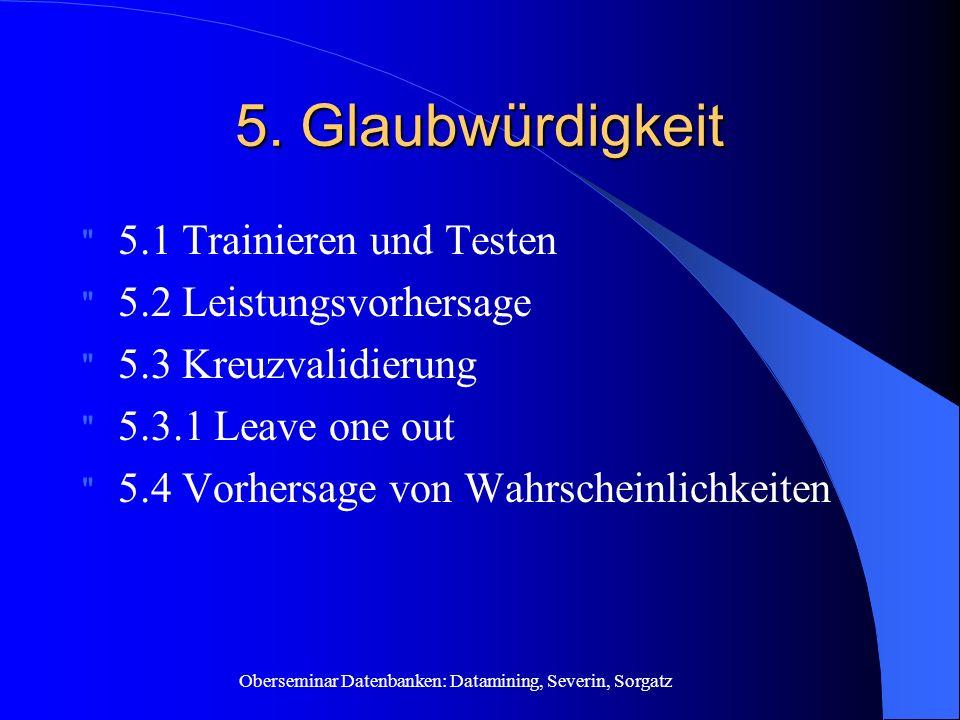 Oberseminar Datenbanken: Datamining, Severin, Sorgatz 5. Glaubwürdigkeit