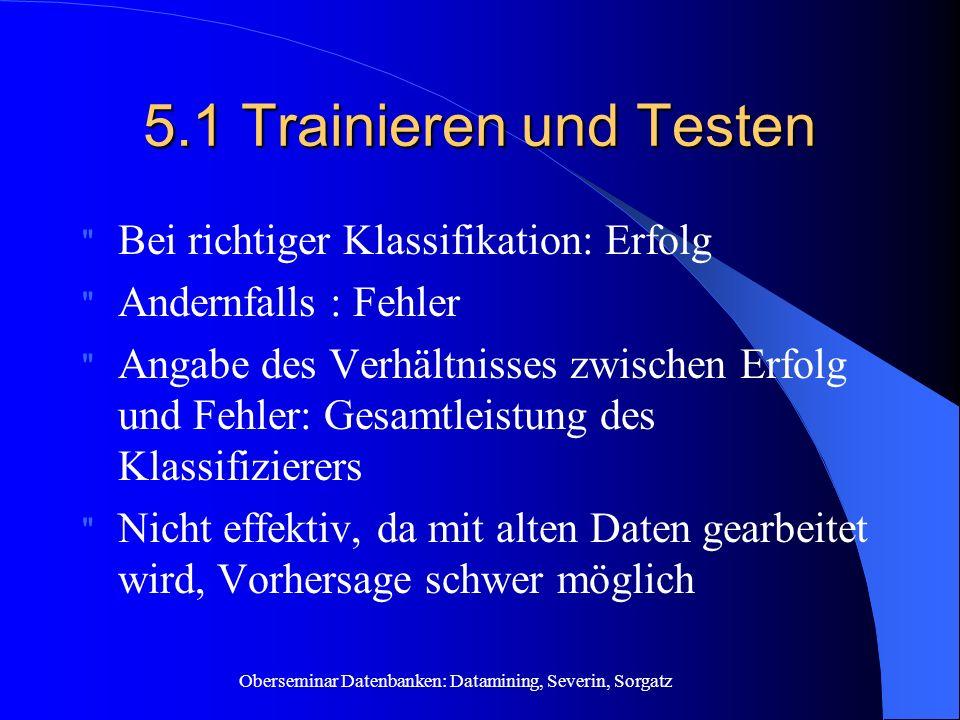 Oberseminar Datenbanken: Datamining, Severin, Sorgatz 5.1 Trainieren und Testen