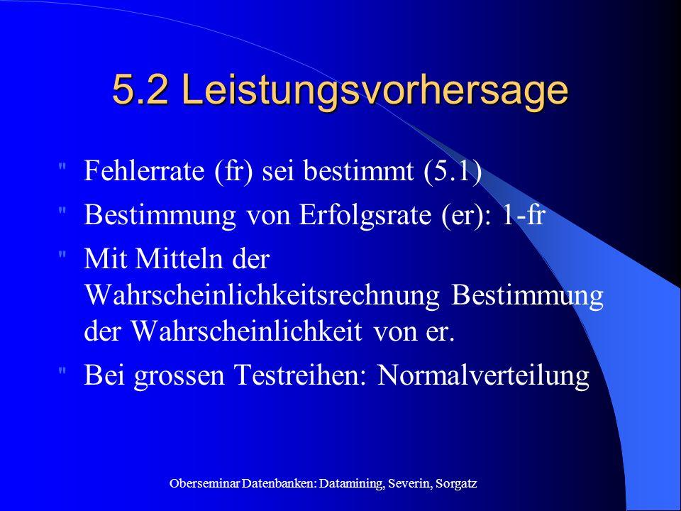 Oberseminar Datenbanken: Datamining, Severin, Sorgatz 5.2 Leistungsvorhersage Fehlerrate (fr) sei bestimmt (5.1) Bestimmung von Erfolgsrate (er): 1-fr Mit Mitteln der Wahrscheinlichkeitsrechnung Bestimmung der Wahrscheinlichkeit von er.