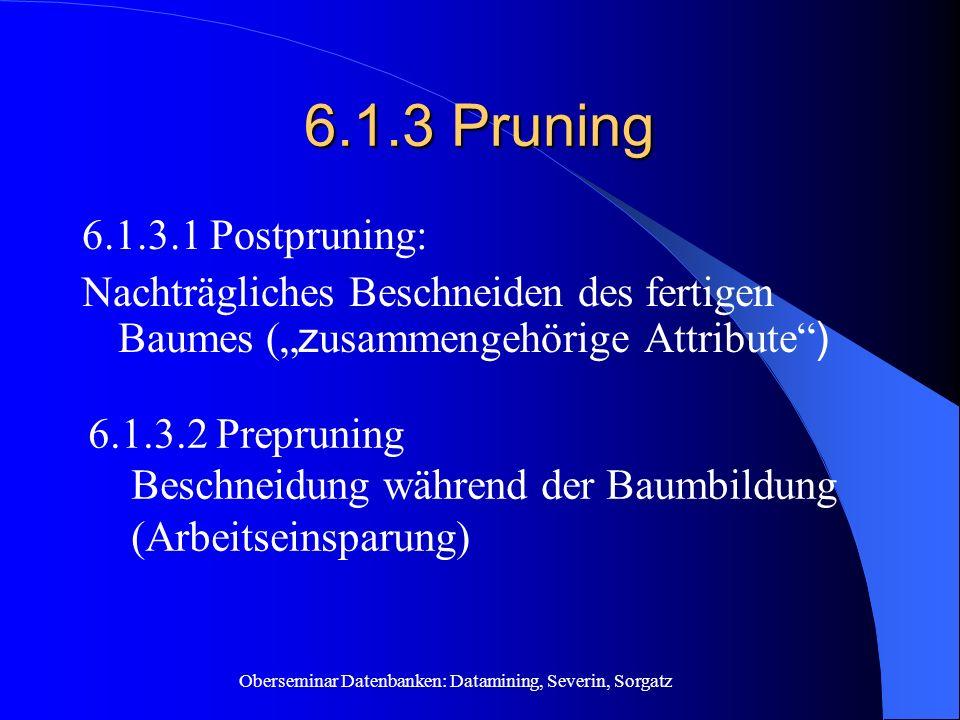Oberseminar Datenbanken: Datamining, Severin, Sorgatz 6.1.3 Pruning 6.1.3.1 Postpruning: Nachträgliches Beschneiden des fertigen Baumes ( z usammengeh
