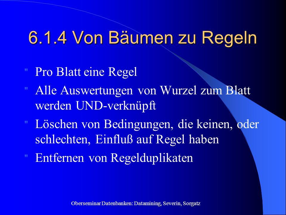 Oberseminar Datenbanken: Datamining, Severin, Sorgatz 6.1.4 Von Bäumen zu Regeln