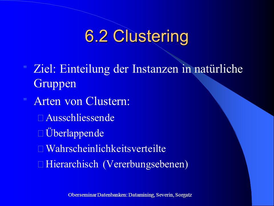 Oberseminar Datenbanken: Datamining, Severin, Sorgatz 6.2 Clustering