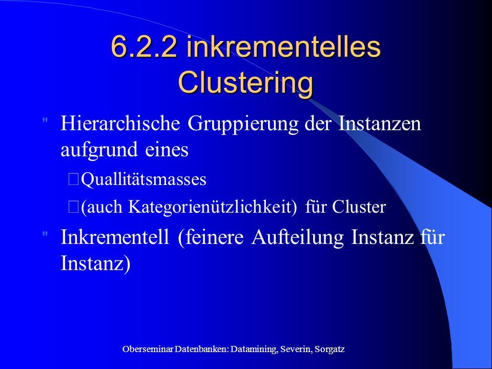 """Oberseminar Datenbanken: Datamining, Severin, Sorgatz 6.2.2 inkrementelles Clustering Hierarchische Gruppierung der Instanzen aufgrund eines """" Quallitätsmasses """" (auch Kategorienützlichkeit) für Cluster Inkrementell (feinere Aufteilung Instanz für Instanz)"""