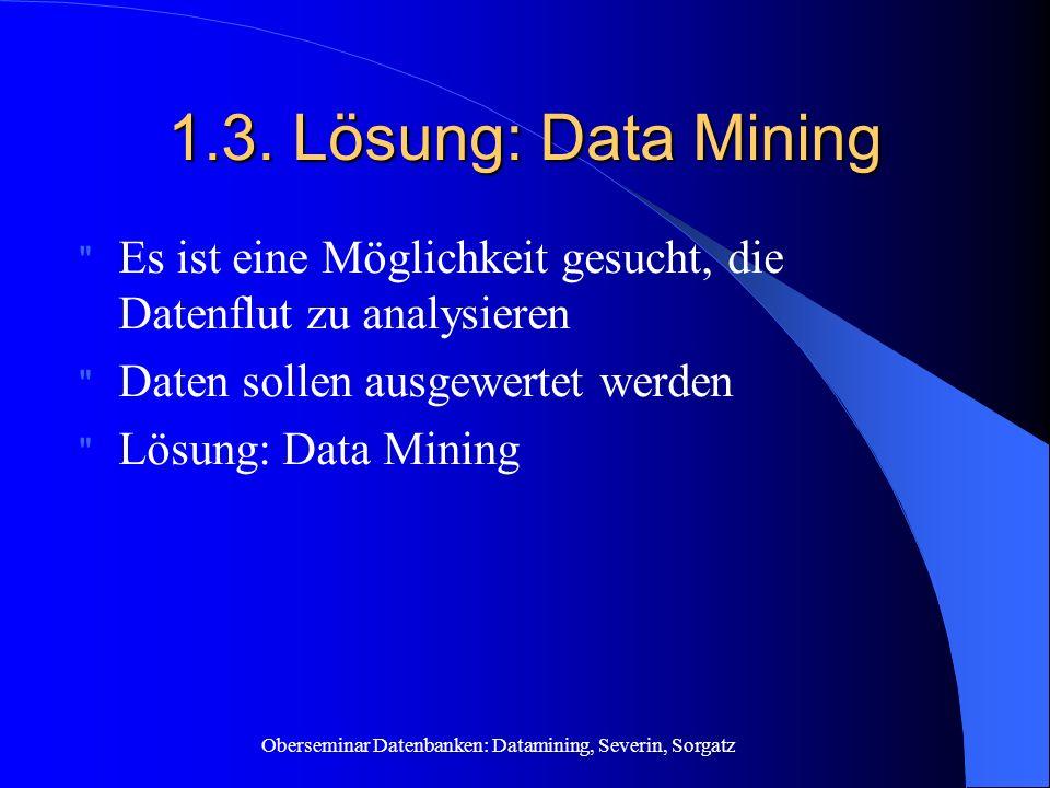 Oberseminar Datenbanken: Datamining, Severin, Sorgatz 1.3. Lösung: Data Mining