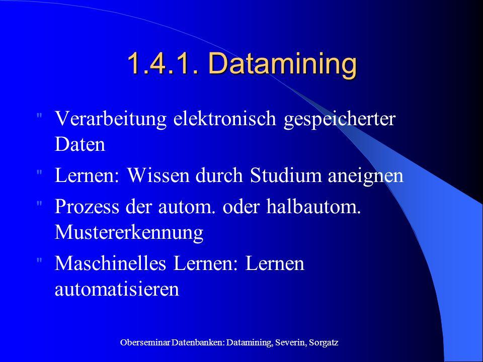 Oberseminar Datenbanken: Datamining, Severin, Sorgatz 1.4.1. Datamining