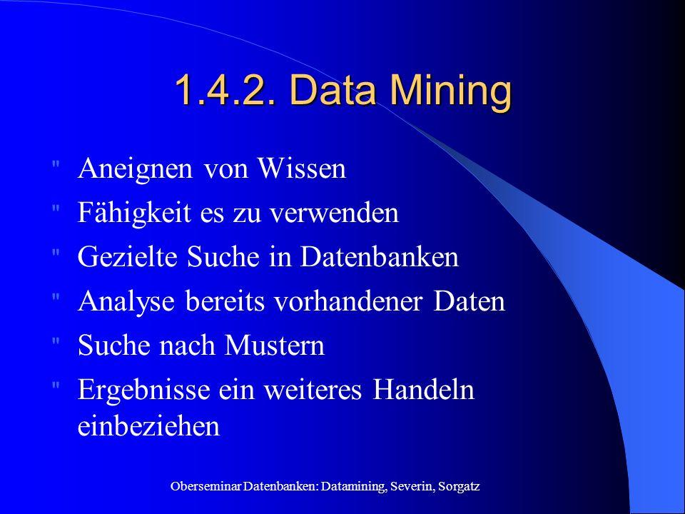 Oberseminar Datenbanken: Datamining, Severin, Sorgatz 1.4.2. Data Mining
