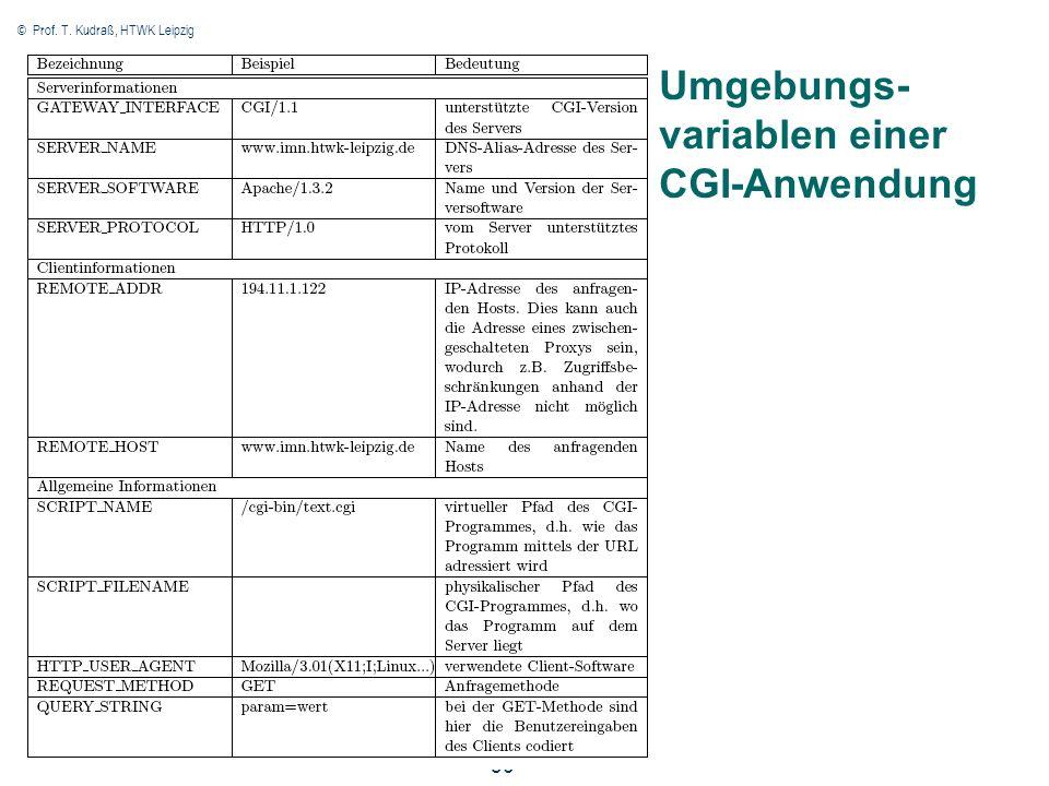 © Prof. T. Kudraß, HTWK Leipzig 30 Umgebungs- variablen einer CGI-Anwendung