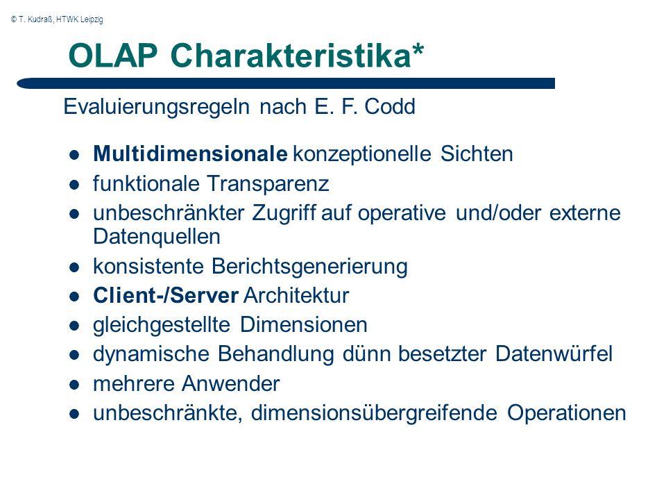 © T. Kudraß, HTWK Leipzig OLAP Charakteristika* Multidimensionale konzeptionelle Sichten funktionale Transparenz unbeschränkter Zugriff auf operative