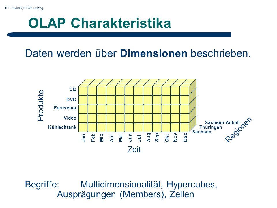 © T. Kudraß, HTWK Leipzig OLAP Charakteristika Daten werden über Dimensionen beschrieben.