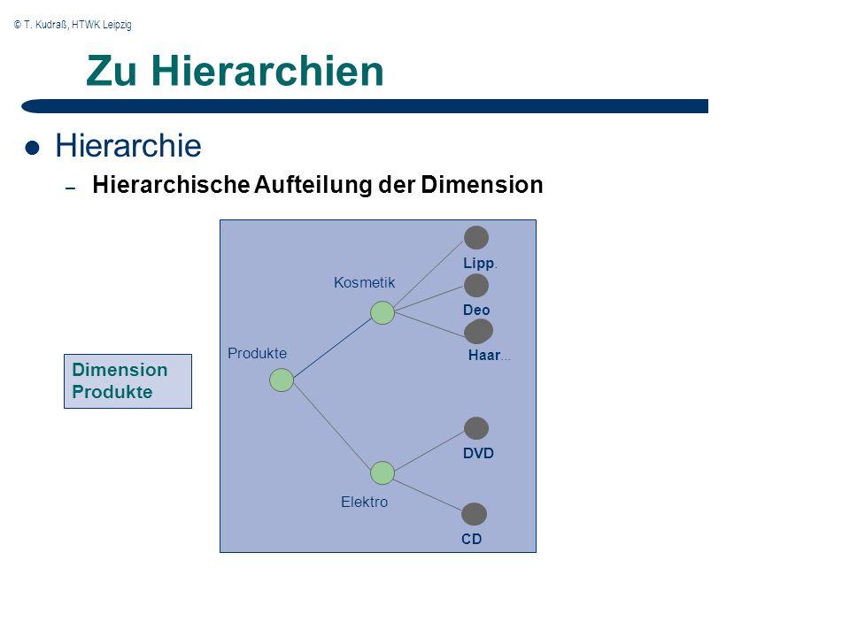 © T. Kudraß, HTWK Leipzig Zu Hierarchien Hierarchie – Hierarchische Aufteilung der Dimension DVD Kosmetik Lipp. DeoCD Elektro Produkte Haar... Dimensi