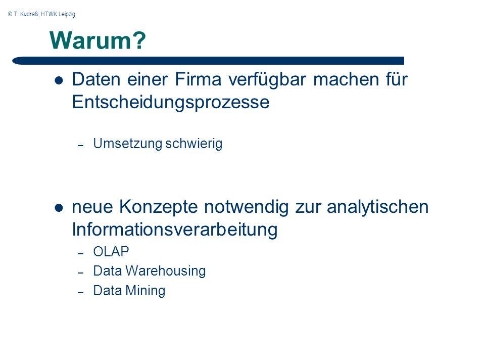 © T.Kudraß, HTWK Leipzig OLAP Charakteristika Daten werden über Dimensionen beschrieben.