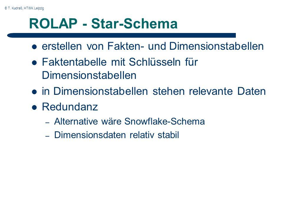© T. Kudraß, HTWK Leipzig ROLAP - Star-Schema erstellen von Fakten- und Dimensionstabellen Faktentabelle mit Schlüsseln für Dimensionstabellen in Dime