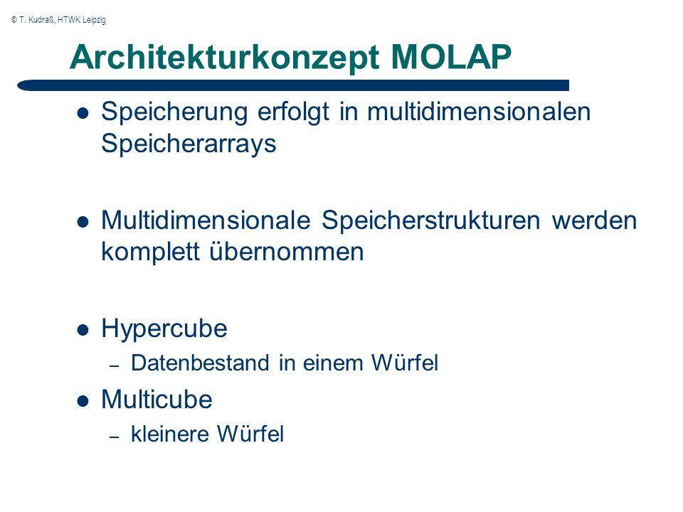 © T. Kudraß, HTWK Leipzig Architekturkonzept MOLAP Speicherung erfolgt in multidimensionalen Speicherarrays Multidimensionale Speicherstrukturen werde