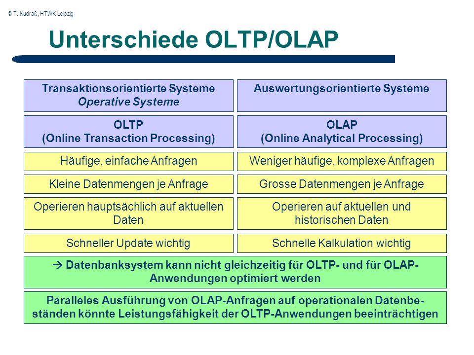 © T. Kudraß, HTWK Leipzig Unterschiede OLTP/OLAP Transaktionsorientierte Systeme Operative Systeme Auswertungsorientierte Systeme Weniger häufige, kom