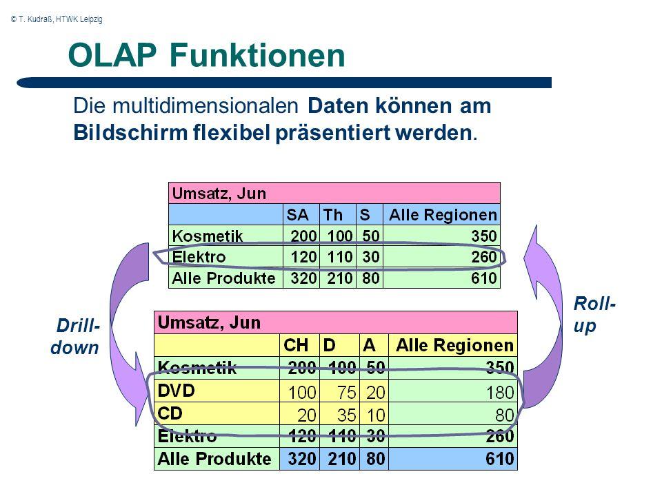 © T. Kudraß, HTWK Leipzig OLAP Funktionen Die multidimensionalen Daten können am Bildschirm flexibel präsentiert werden. Drill- down Roll- up