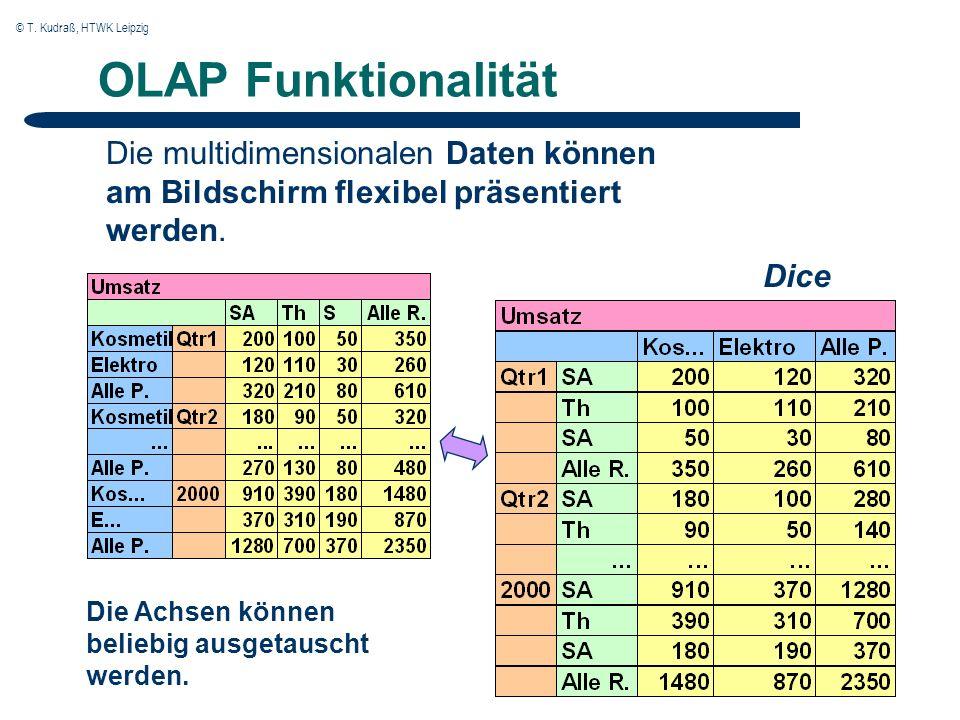 © T. Kudraß, HTWK Leipzig OLAP Funktionalität Die multidimensionalen Daten können am Bildschirm flexibel präsentiert werden. Dice Die Achsen können be