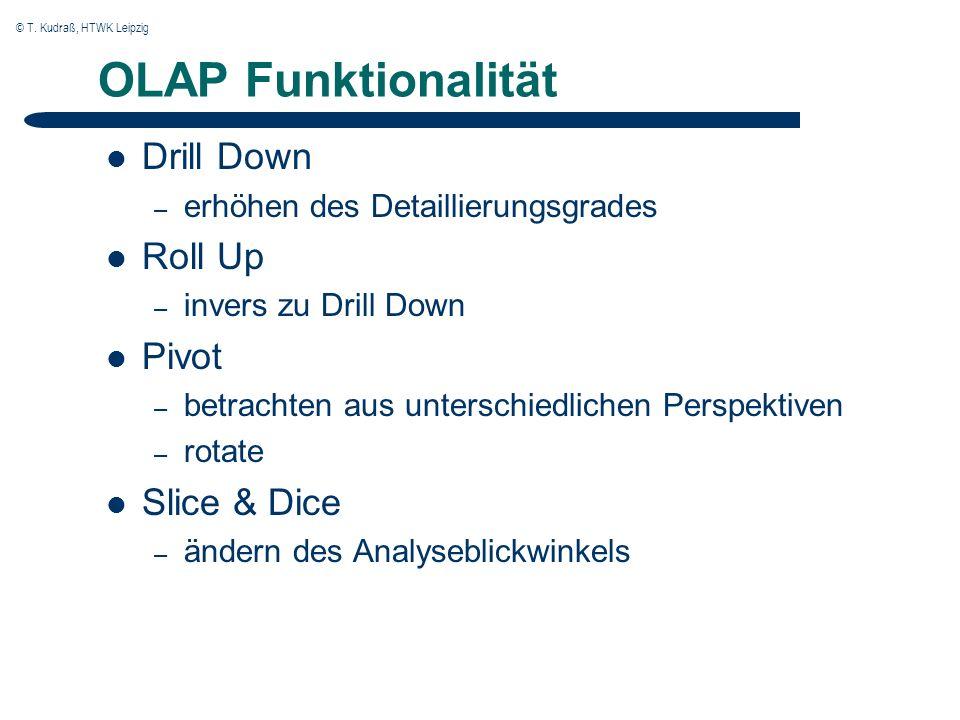 © T. Kudraß, HTWK Leipzig OLAP Funktionalität Drill Down – erhöhen des Detaillierungsgrades Roll Up – invers zu Drill Down Pivot – betrachten aus unte
