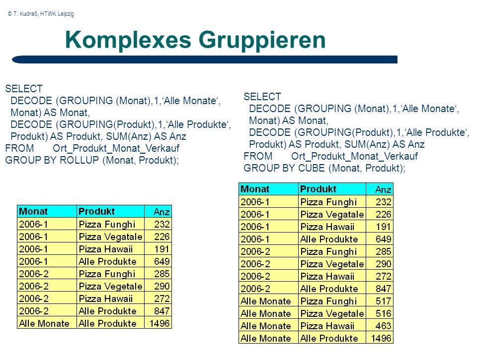 © T. Kudraß, HTWK Leipzig Komplexes Gruppieren SELECT DECODE (GROUPING (Monat),1,Alle Monate, Monat) AS Monat, DECODE (GROUPING(Produkt),1,Alle Produk