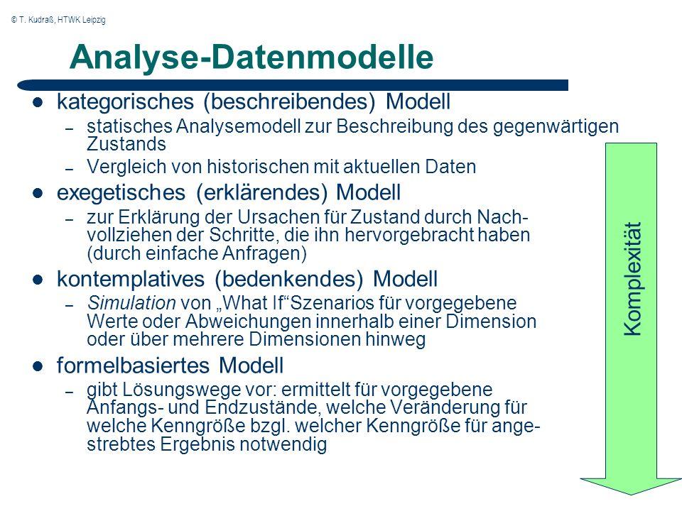 © T. Kudraß, HTWK Leipzig Analyse-Datenmodelle kategorisches (beschreibendes) Modell – statisches Analysemodell zur Beschreibung des gegenwärtigen Zus