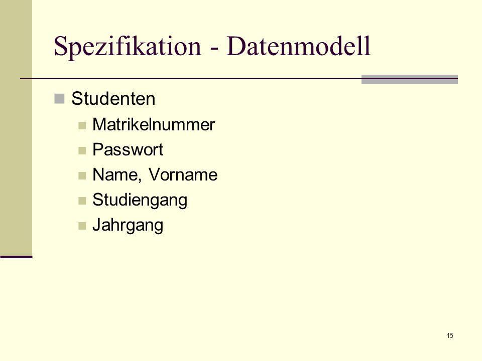15 Spezifikation - Datenmodell Studenten Matrikelnummer Passwort Name, Vorname Studiengang Jahrgang