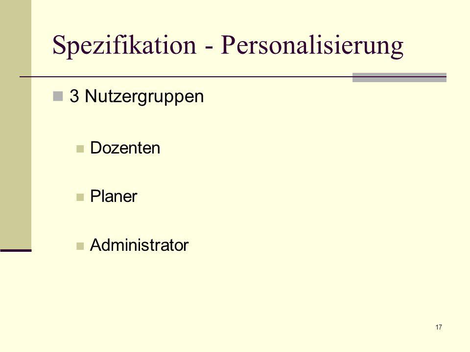 17 Spezifikation - Personalisierung 3 Nutzergruppen Dozenten Planer Administrator