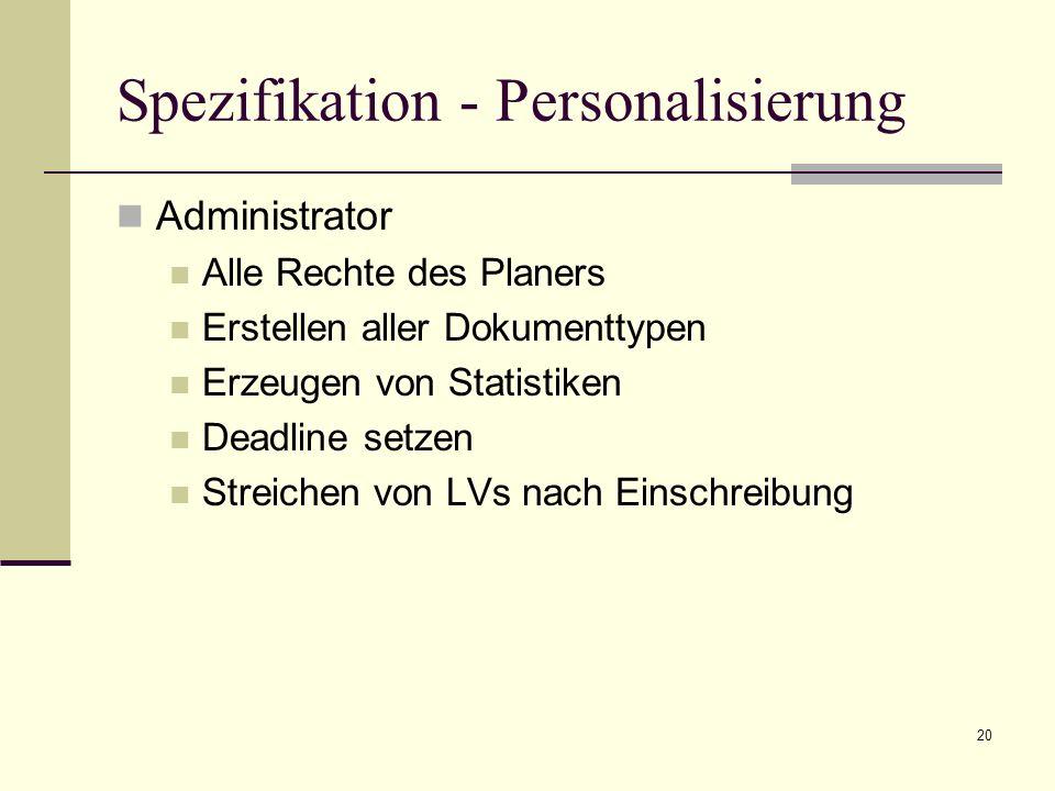 20 Spezifikation - Personalisierung Administrator Alle Rechte des Planers Erstellen aller Dokumenttypen Erzeugen von Statistiken Deadline setzen Streichen von LVs nach Einschreibung