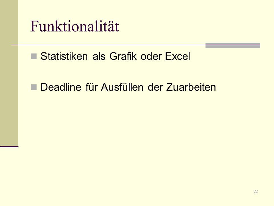 22 Funktionalität Statistiken als Grafik oder Excel Deadline für Ausfüllen der Zuarbeiten
