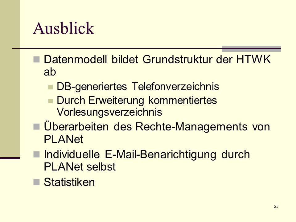 23 Ausblick Datenmodell bildet Grundstruktur der HTWK ab DB-generiertes Telefonverzeichnis Durch Erweiterung kommentiertes Vorlesungsverzeichnis Überarbeiten des Rechte-Managements von PLANet Individuelle E-Mail-Benarichtigung durch PLANet selbst Statistiken