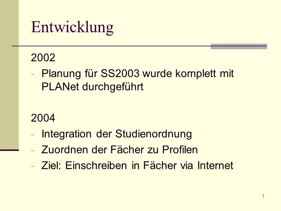 7 Entwicklung 2002 - Planung für SS2003 wurde komplett mit PLANet durchgeführt 2004 - Integration der Studienordnung - Zuordnen der Fächer zu Profilen