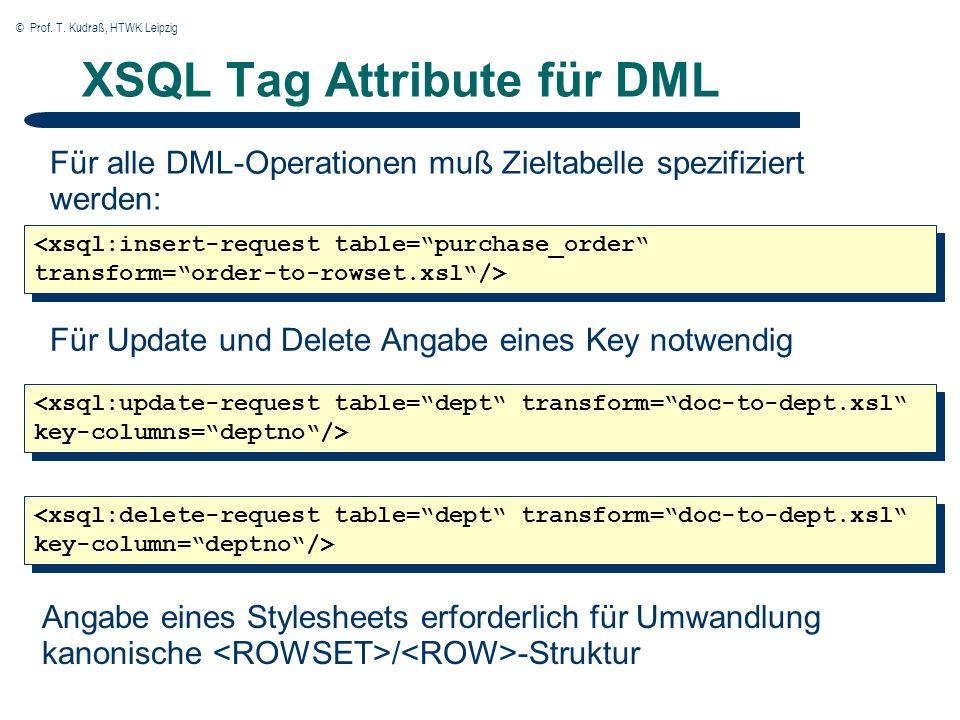 © Prof. T. Kudraß, HTWK Leipzig XSQL Tag Attribute für DML Für alle DML-Operationen muß Zieltabelle spezifiziert werden: <xsql:insert-request table=pu
