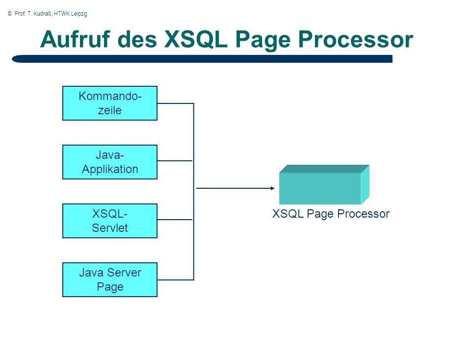 © Prof. T. Kudraß, HTWK Leipzig Aufruf des XSQL Page Processor Kommando- zeile XSQL Page Processor Java- Applikation XSQL- Servlet Java Server Page