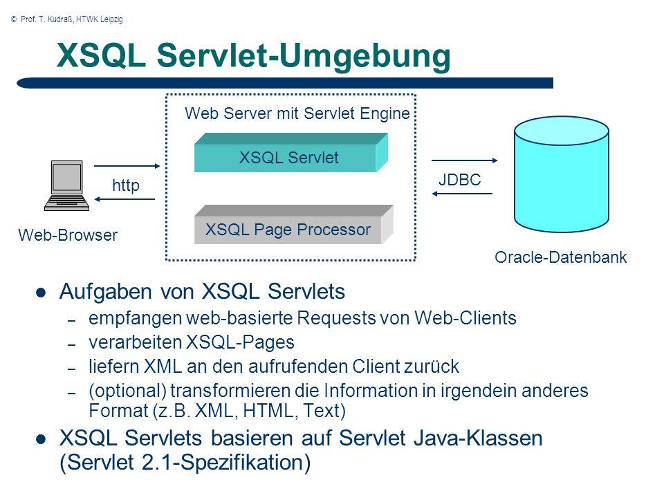 © Prof. T. Kudraß, HTWK Leipzig XSQL Servlet-Umgebung Aufgaben von XSQL Servlets – empfangen web-basierte Requests von Web-Clients – verarbeiten XSQL-