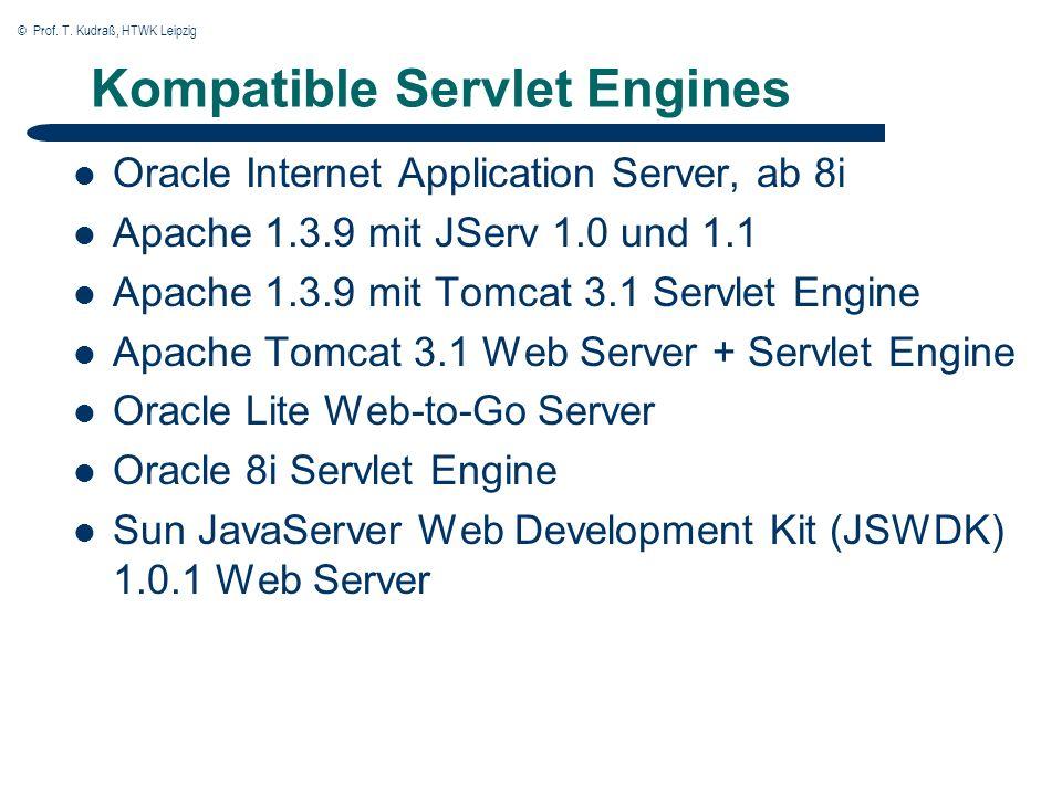 © Prof. T. Kudraß, HTWK Leipzig Kompatible Servlet Engines Oracle Internet Application Server, ab 8i Apache 1.3.9 mit JServ 1.0 und 1.1 Apache 1.3.9 m