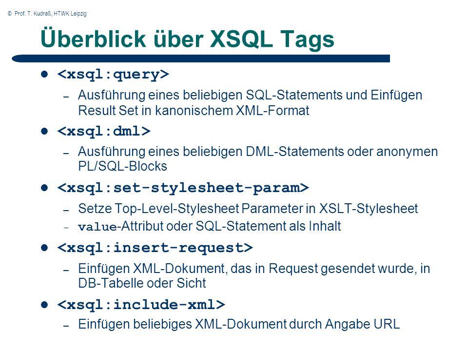 © Prof. T. Kudraß, HTWK Leipzig Überblick über XSQL Tags – Ausführung eines beliebigen SQL-Statements und Einfügen Result Set in kanonischem XML-Forma