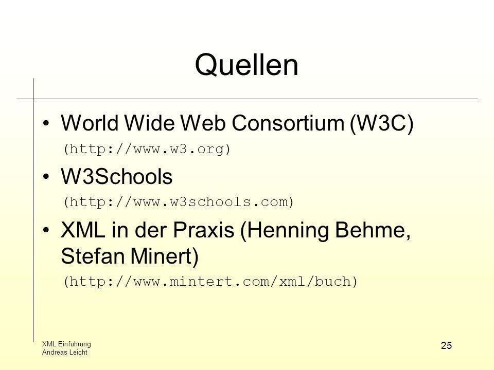 XML Einführung Andreas Leicht 25 Quellen World Wide Web Consortium (W3C) (http://www.w3.org) W3Schools (http://www.w3schools.com) XML in der Praxis(He