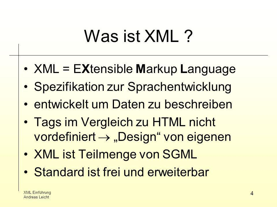 XML Einführung Andreas Leicht 25 Quellen World Wide Web Consortium (W3C) (http://www.w3.org) W3Schools (http://www.w3schools.com) XML in der Praxis(Henning Behme, Stefan Minert) (http://www.mintert.com/xml/buch)