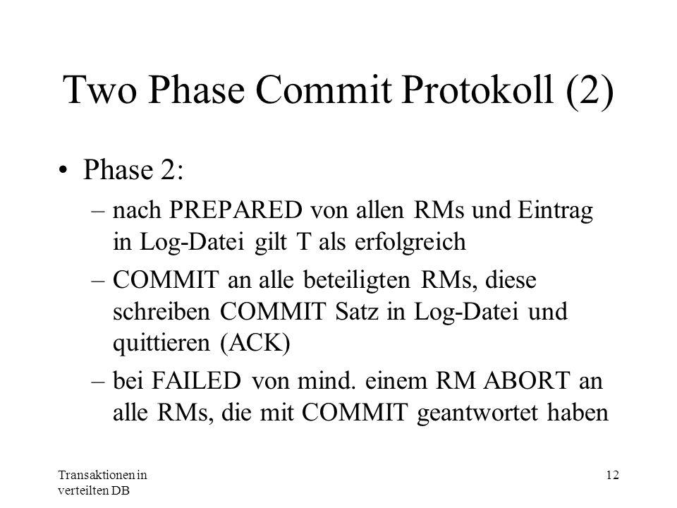 Transaktionen in verteilten DB 12 Two Phase Commit Protokoll (2) Phase 2: –nach PREPARED von allen RMs und Eintrag in Log-Datei gilt T als erfolgreich