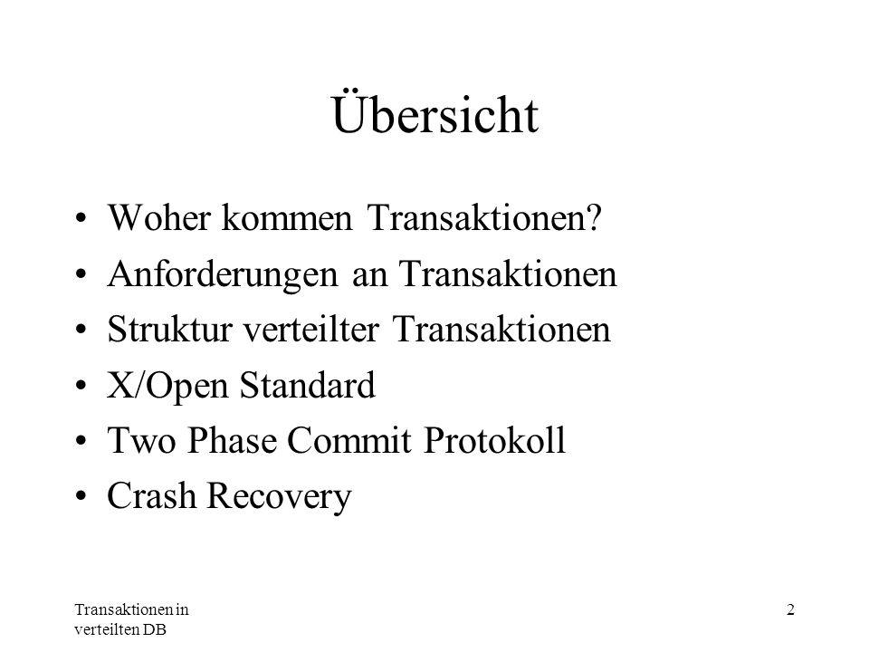 Transaktionen in verteilten DB 2 Übersicht Woher kommen Transaktionen? Anforderungen an Transaktionen Struktur verteilter Transaktionen X/Open Standar