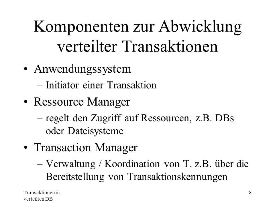 Transaktionen in verteilten DB 8 Komponenten zur Abwicklung verteilter Transaktionen Anwendungssystem –Initiator einer Transaktion Ressource Manager –