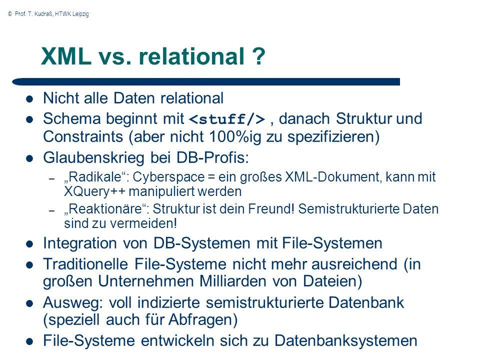 © Prof. T. Kudraß, HTWK Leipzig XML vs. relational ? Nicht alle Daten relational Schema beginnt mit, danach Struktur und Constraints (aber nicht 100%i
