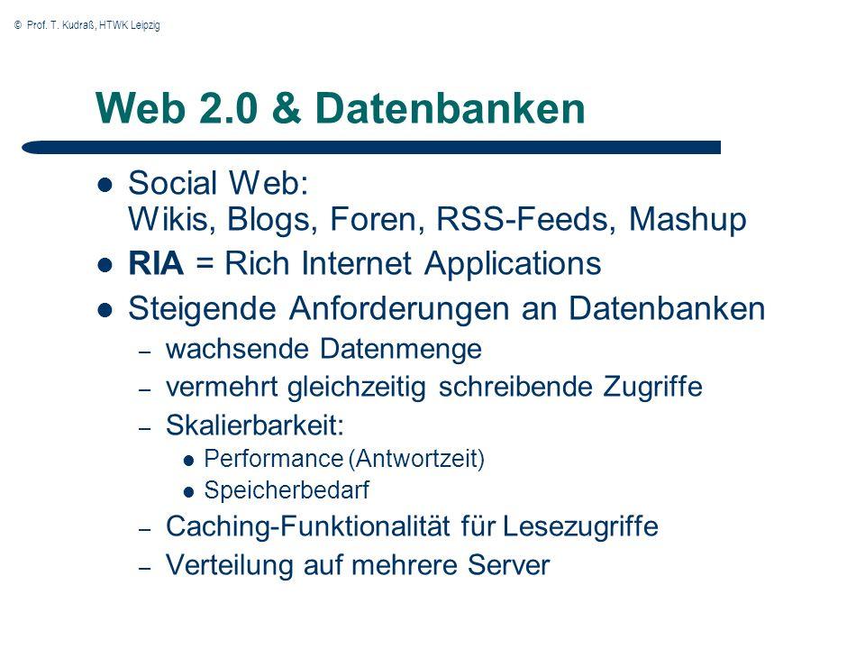 © Prof. T. Kudraß, HTWK Leipzig Web 2.0 & Datenbanken Social Web: Wikis, Blogs, Foren, RSS-Feeds, Mashup RIA = Rich Internet Applications Steigende An