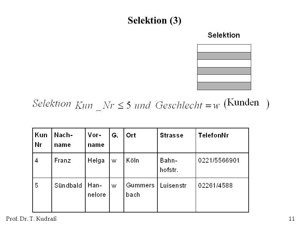 Prof. Dr. T. Kudraß11 Selektion (3)