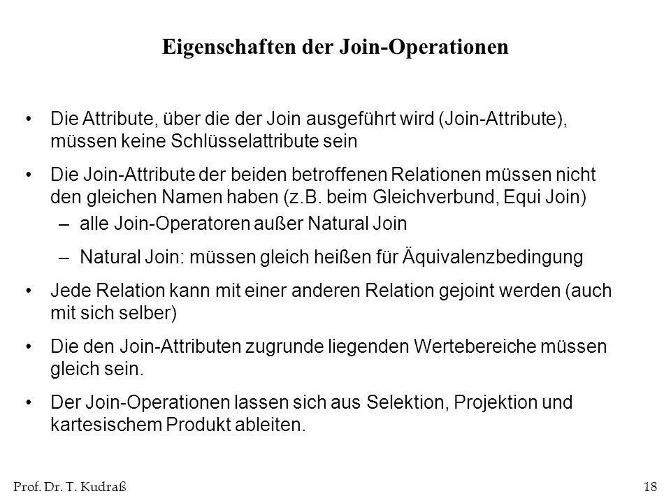 Prof. Dr. T. Kudraß18 Die Attribute, über die der Join ausgeführt wird (Join-Attribute), müssen keine Schlüsselattribute sein Die Join-Attribute der b