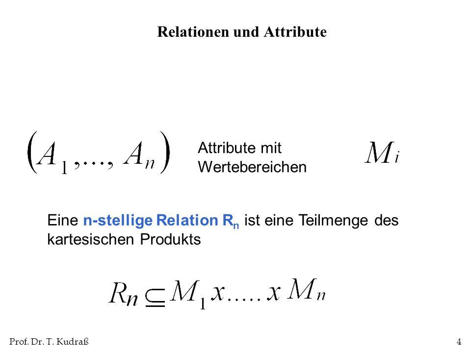 Prof. Dr. T. Kudraß4 Attribute mit Wertebereichen Eine n-stellige Relation R n ist eine Teilmenge des kartesischen Produkts Relationen und Attribute