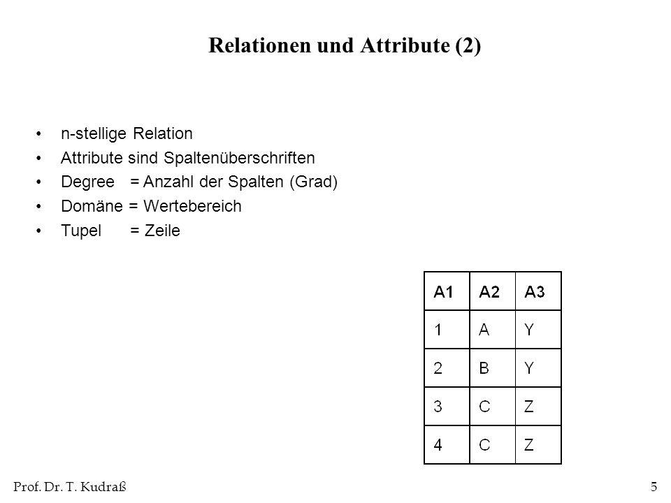Prof. Dr. T. Kudraß5 n-stellige Relation Attribute sind Spaltenüberschriften Degree = Anzahl der Spalten (Grad) Domäne = Wertebereich Tupel = Zeile Re