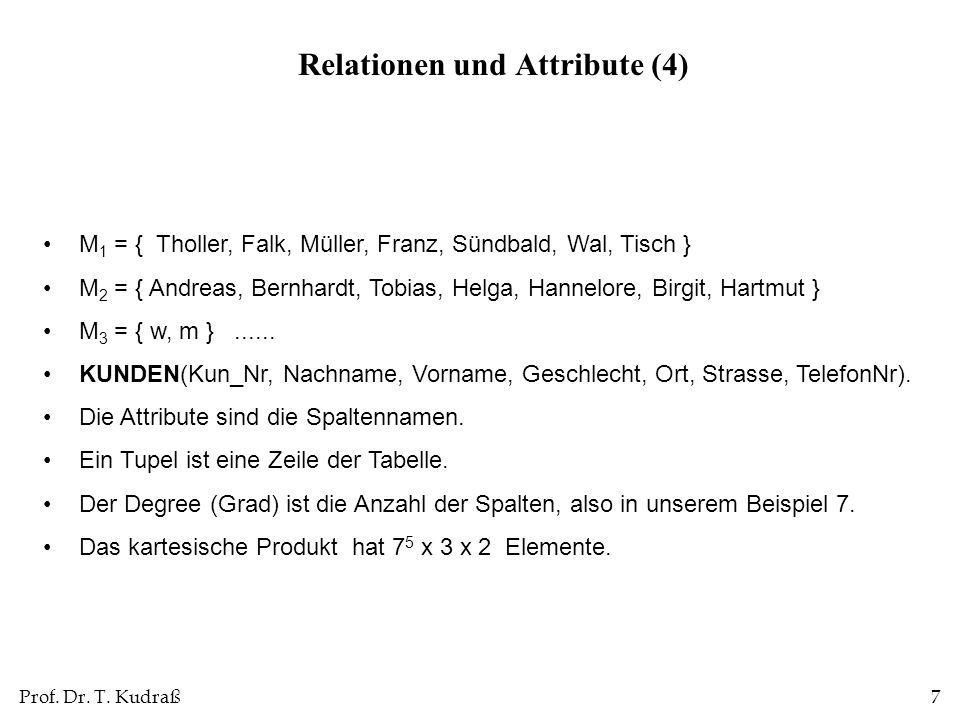 Prof. Dr. T. Kudraß7 M 1 = { Tholler, Falk, Müller, Franz, Sündbald, Wal, Tisch } M 2 = { Andreas, Bernhardt, Tobias, Helga, Hannelore, Birgit, Hartmu