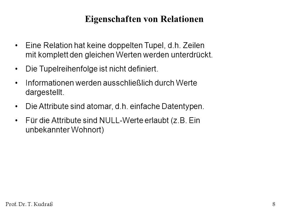 Prof. Dr. T. Kudraß8 Eine Relation hat keine doppelten Tupel, d.h. Zeilen mit komplett den gleichen Werten werden unterdrückt. Die Tupelreihenfolge is